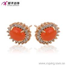 Fashion Elegant Big Red Stone CZ Imitation Jewelry Earring Studs in 18k Gold-Plated 91215