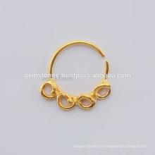 Fabricant de bijoux en métal plaqué or à la main, anneau de nez argenté ethnique Septum