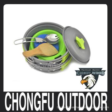 Venta al por mayor al aire libre de pan verde y naranja y pan utensilios de cocina para camping y senderismo