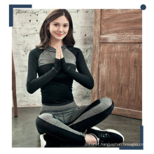 Women Contrast Color Polyester Blend Spandex Hoodies and Yoga Pants