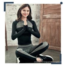 Женщины контрастного цвета полиэстер спандекс толстовки и штаны для йоги