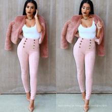 Modelo de marca de Inglaterra desgaste de veludo mulheres moda causal botton calça leggings