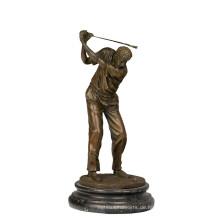 Sport Messing Statue Golfer Dekoration Bronze Skulptur Tpy-394