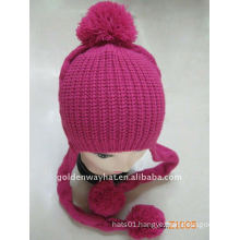 Nice Looking Red Woolen Winter Girls Knitted Hat