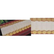 Pano de tabela longo fino do laço do ouro / prata do PVC de 50cm (JFBD-013)