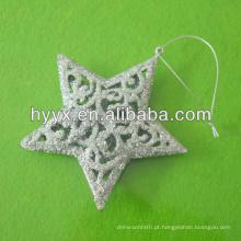 Estrela de Natal de prata, enfeites de árvore de Natal