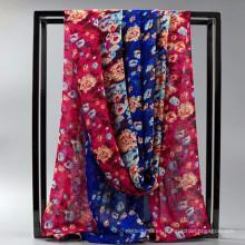 Cómodas mujeres al por mayor chiffion chal de seda de satén o bufandas de seda impresa a medida sátira hijab mousseline