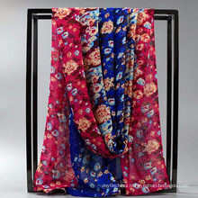 Comfortable Pretty women wholesale chiffion satin silk shawl or scarves custom printed silk foullard hijab mousseline