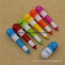 6 couleurs en gros en plastique rétractable stylo à bille de vitamine
