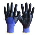 13G Blue Polyester Knitted Gloves with Black Foam Nitrile 3/4 Coated