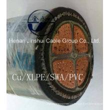 Изоляционный кабель с изоляцией из сшитого полиэтилена 4core 240mm2 Cu / XLPE / Swa / PVC