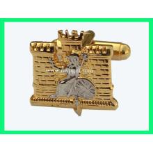 Gold Manschettenknopf mit Logo Gravur (m-CL03)