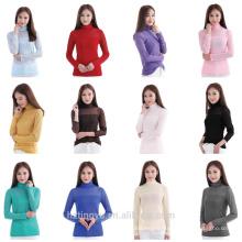 мода женщины блузка обычная чистая кружева футболка исламского мусульманскую одежду