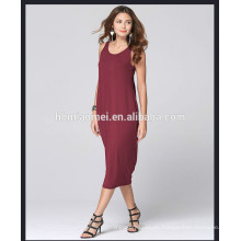 Venta al por mayor Alibaba Express Vestidos sin mangas Sexy Deep V Back Tropical de una pieza vestido largo Mujeres Casual