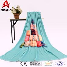 Entrega rápida super macio cobertor de lã de flanela de impressão digital com design personalizado