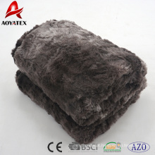 100% poliéster dupla camada de volta micrimink animal fake fur fleece throw blanket