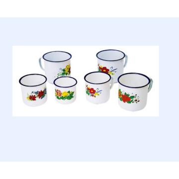 Flower Decorate Enamel Water Mug