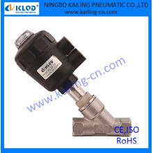 Válvula de ángulo de accionamiento de plástico, de simple o doble efecto, normalmente cerrada