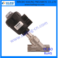 pneumatic control angle seat valve,for air, water, gas, steam,oil, plastic actuator (KLJZF series)
