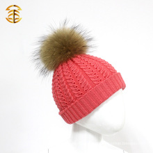 100% Merino Real Fur Pom Pom Knitting Beanie Wool Hat for Baby