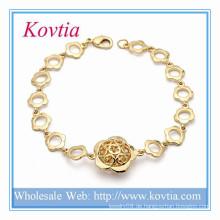Indische Gold Kada Designs Blumenkette Link Armband vergoldeten Legierung Schmuck Klammer