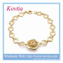 Indian gold kada designs flower chain link bracelet gold plated alloy jewelry brace