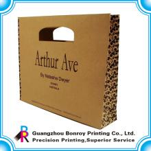 qualitativ hochwertige Kraftpapier Box braun Farbe benutzerdefinierte Logo Einkaufstasche Druck