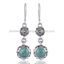 Boucles d'oreilles en argent sterling 925 en pierres précieuses turquoise tibétaine