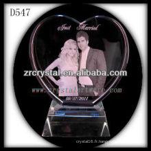 Forme de coeur de cristal de mariage