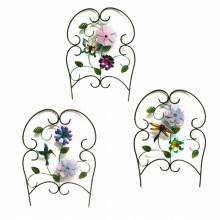Jardin Décoration Tissu Fleur Décoré Rond Métal Fence Artisanat