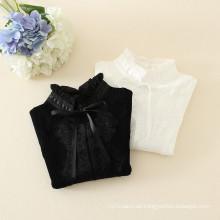 bebé chicas tocando la camiseta sweatesr con punto de encaje camisas para niños en color blanco y negro