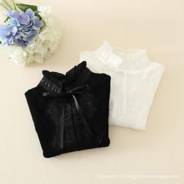 sweatesr de chemise de filles de bébé avec des chemises en tricot de dentelle pour des enfants dans la couleur noire et blanche