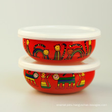 enamel ice bowl used in refrigerator with pattern liked by child