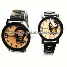 Ano do macaco pulseira de aço inoxidável relógios set casal relógio de pulso