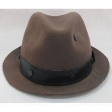 Sombrero de fieltro de lana de Fedora con sombrero de cuero (F-070008)