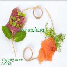 Brocheta de cóctel de bambú orgánico para barbacoa / pincho ying-yang
