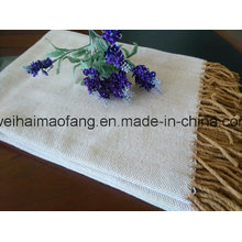 Woven Herringbone Pure Cotton Fringed Throw