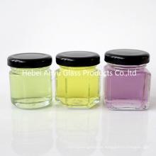 1 Unze 2 Unze runde Hexagon Square Mini Glas Honig Jar Mason Shot mit schwarzem Deckel