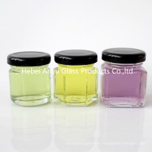 1 oz 2 onzas Round Hexagon Square Mini vaso de miel de vidrio Mason Shot con tapa negra