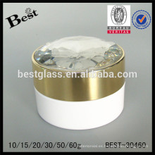 Tarro poner crema de acrílico blanco 50g con el casquillo del diamante de lujo y la tapa interna, tarro poner crema del acryl para el cuidado de la cara, OEM barato de alta calidad