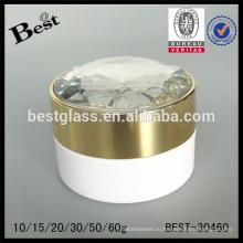50г белой акриловый Cream опарник с фантазийными бриллиантами крышкой и внутренней крышкой, акриловые банку крема для ухода за лицом, высокое качество дешевые OEM