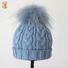 Пользовательские зимние вязание крючком Hat трикотажные Beanies Детские шапки с мехом мяч