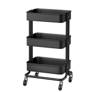 Metal three shelves Rolling Cart