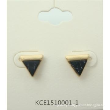 Simple Triangular Earrings with Metal