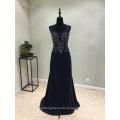 Vestido de noite de sereia de perolização de cetim azul escuro