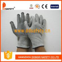 13G Hppe Glasfaser Handschuhe mit Spandex Nylon gemischt schwarz PVC Dots dcr212