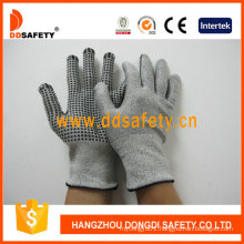 13G Hppe Glass Fiber Gloves with Spandex Nylon Mixed Black PVC Dots Dcr212