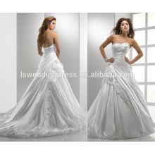WD0012 тафта асимметричная декольте без рукавов с ruched лиф drapped юбка бальное платье пузырь подол корсет свадебное платье закрытие