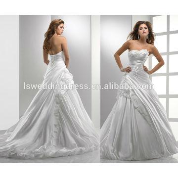 WD0012 decalque assimétrico tafetá sem mangas com corpete encolhido falso vestido vestido de baile burbuja hem corset encerramento vestido de noiva