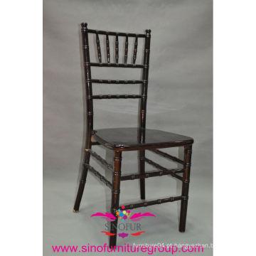 Cadeira de madeira de mogno escuro Chiavari / casamento grossista Tiffany cadeira
